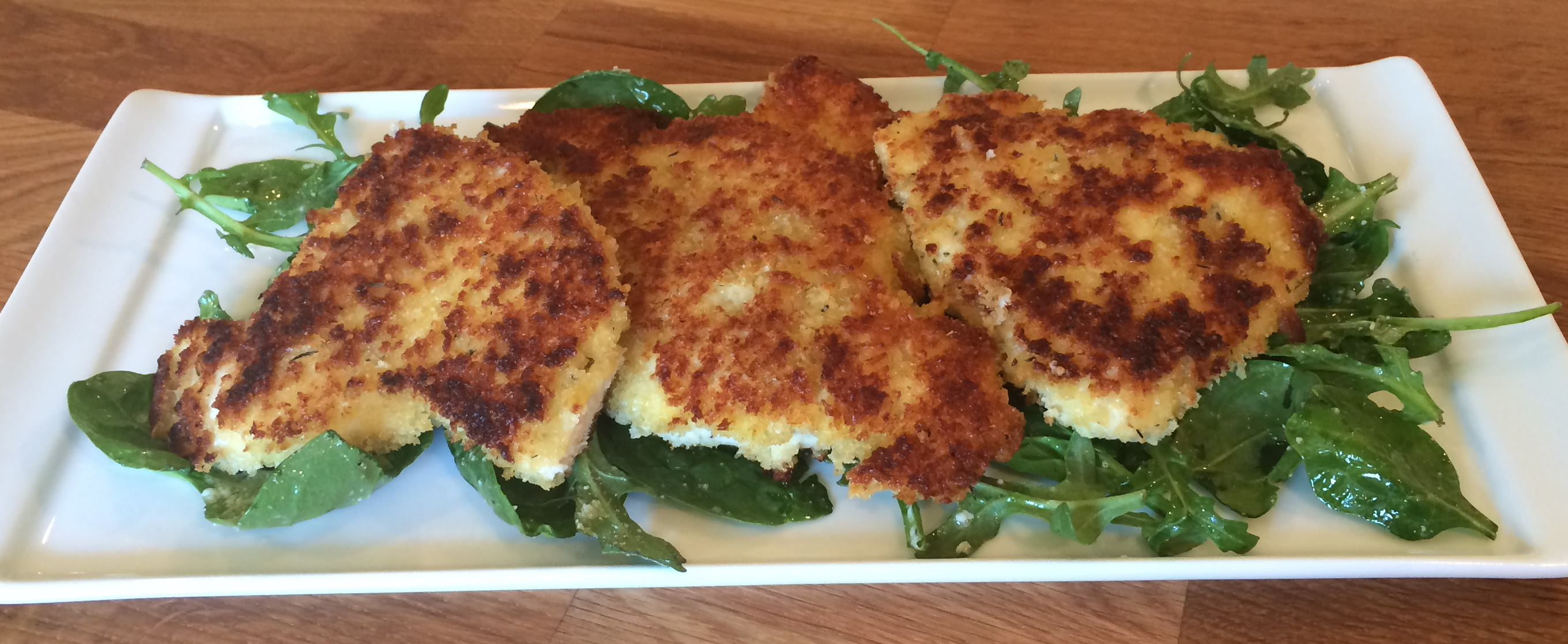 Parmesan Crusted Chicken With Arugula Salad